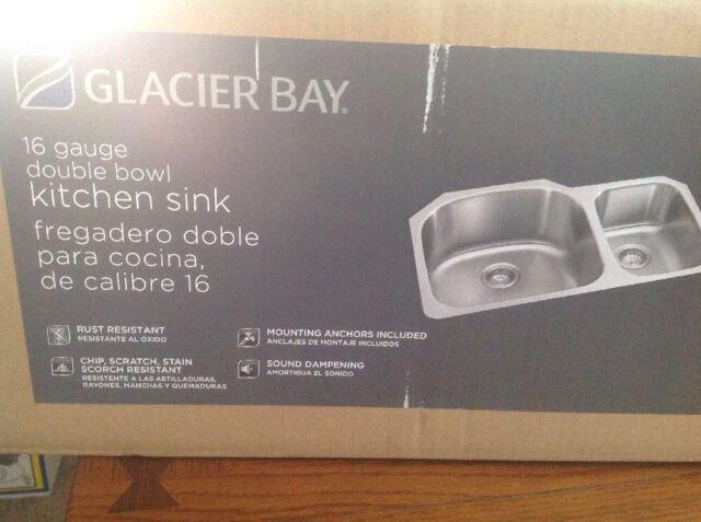 Glacier Bay Stainless Steel Double Bowl Undermount Kitchen Sink 16 Gauge  FD2038