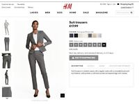 NEW grey women's suit trousers H&M size 10
