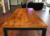 Reclaimed Wood Table Tops with Metal Bases