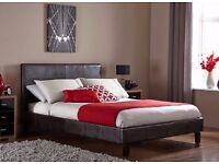 == Sturdy Wooden Structure == LEATHER BED-DOUBLE SIZE FRAME -BLACK-BROWN- WITH MATTRESS