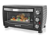 19 litre table top mini oven and grill 1400 w black stainless steel brand new in box never used