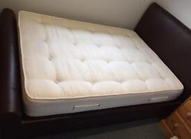 (SOLD) Stylish faux leather double bed frame with/without mattress