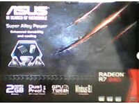 Asus Radeon R7 240 Graphics card with 2Gb Memory. Win 8.1 and above. As new.
