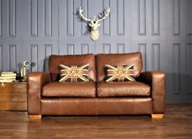 Leather 2 Seater Sofa chesterfield tan victorian halo cigar club Suite Chair gold 4 2 brown 621