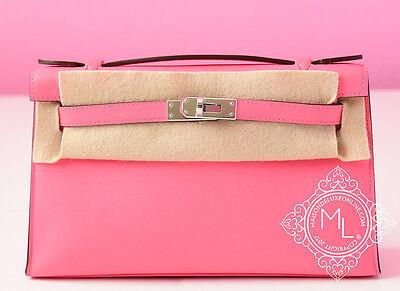 New Hermes Pink Rose Azalee Mini Kelly Pochette Cut Bag Clutch Birkin Lipstick