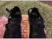 Schuh leather black block heel shoes