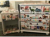 TOY STORY THEMED CHEST OF DRAWERS AND MATCHING BEDSIDE TABLE
