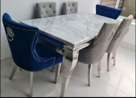 Marble dining table and chairs plus coffee table