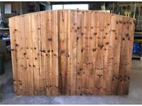 🦔 HEAVY DUTY TANALISED BROWN WOODEN BOW TOP GARDEN FENCE PANELS