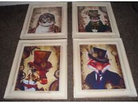 4 NEW SHABBY STYLE GLASS FRAMED ANIMAL PRINTS 10 INCHES BY 12 INCHES