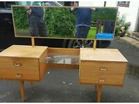 Retro dressing table and chest of drawers.