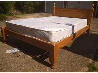 Chunky pine double bed ,no mattress ,can deliver