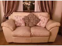 Free cream leather 3 & 2 seater sofa