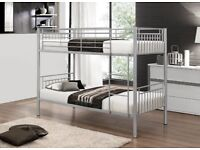 GET IT NOW! BRAND NEW STANDARD SINGLE 3FT METAL BUNK BED AND MATTRESS RANGE
