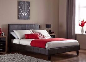 ==CASH ON DELIVERY == Double Leather Bed with 10inch Original Deep Quilt Mattress