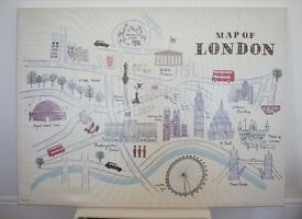Canvas - Map Of London by Alice Tait - Next wall art children's room decor