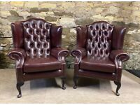 Burg Leather Wing Backed Queen Anne Armchairs x 2