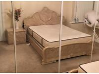 Beige real italian marble gloss bed frame with side drawer and bed