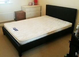 BRAND NEW SINGLE DOUBLE KINGSIZE FAUX LEATHER BED FRAMES WITH CHOICE OF MATTRESSES - KING SIZE