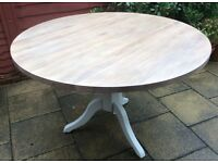 Circular Solid 'Washed' Oak Dining Table, Never Used.