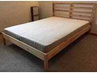 "(USED) IKEA ""TARVA"" 4'6"" Pine framed U.K. Double Bed"
