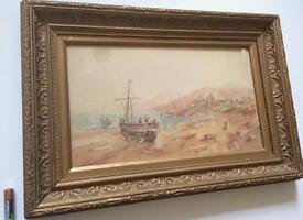 Antique Watercolour Seascape Painting Signed J. M. Dodds Gilt Gesso Frame