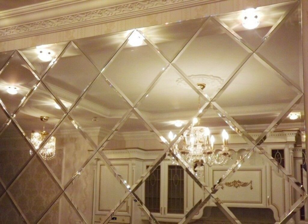 24 X Large 30cm X 30cm Bevel Mirror Square Wall Tiles In Holborn
