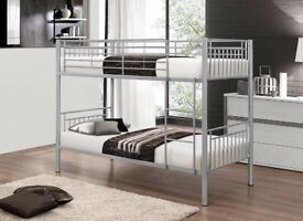 🔥Strong & Sturdy🔥 New Single Metal Bunk Bed with 2 x 9 inch Deep Quilted Semi Orthopedic Mattress