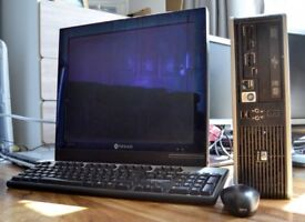 """Cheap FULL HP Desktop PC Setup SFF Windows 7 with 17"""" LCD Monitor Keyboard & Mouse Office"""