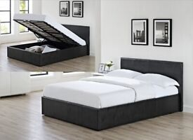 SALE CLEARANCE EVERYTHING GAS LIFT UP DOUBLE OTTOMAN STORAGE BED FRAME NEW CHEAP PRICE
