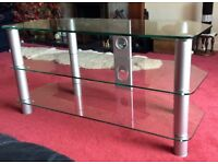 Modern T.V. Stand, Toughened Glass, As New - 3 Levels