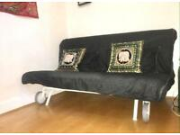 Two seater Ikea PS Sofa bed Havet Black V good clean mattress converts to king bed, pet/smoke free