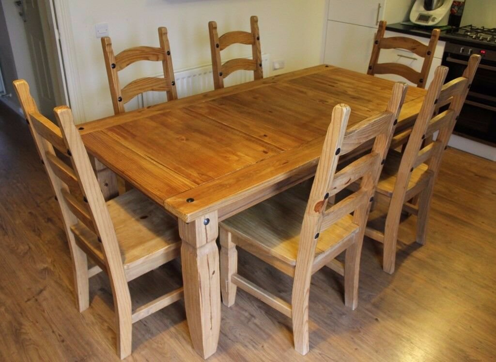 Pier1 Dining Table: Brazil Oak Dining Table, 6 Chairs And Side Table Set By