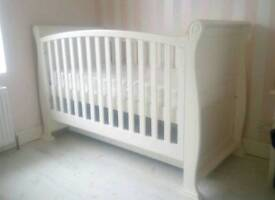 White sleigh cot toddler bed, storage and changing table