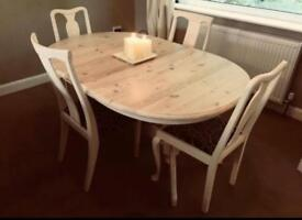 Solid wood dining table and 4 good chairs!!!