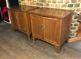 Pair Of Chinese Elm Bedside Cupboards