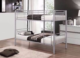 Metal Bunk Bed Frame Silver n White Single Bottom Single Top for Adult & Children