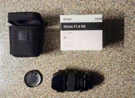 Sigma 35mm f1.4 Art lens for Canon SLRs