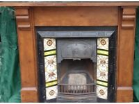 Superb Original Antique Victorian Cast Iron Tiled Fireplace Insert Complete With Wood Mantlepiece