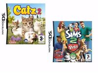 Nintendo DS 2DS 3DS DSI Games Pack [ Cats - Catz 2 + Sims 2 Pets ] two games for kids - girls boys