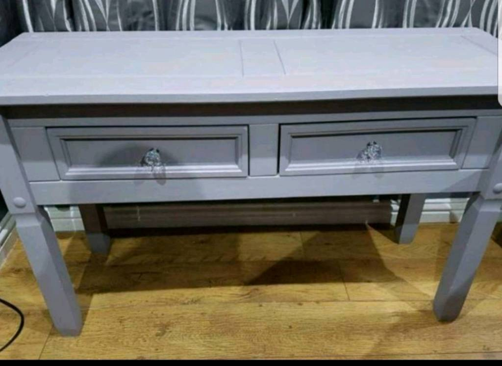 Large 50 Inch Wide Solid Wood Heavy Grey Console Table