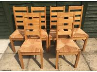 6 Quality Solid Oak Ladderback chairs
