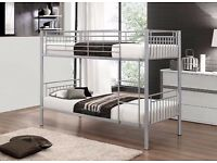 **SALE ON **SINGLE BUNK BED FRAME AND MATTRESS IN BLACK SILVER AND WHITE COLOUR