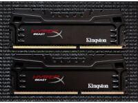 8Gb (2 x 4Gb) Kingston Hyper X Beast DDR3 1600MHz.