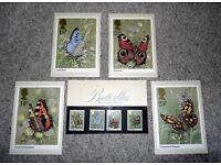 BUTTERFLIES British Post Office stamps & postcards set.