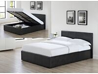 💛💛ALL SIZES AVAILABLE💛💛DOUBLE LEATHER STORAGE BED FRAME GAS LIFT UP WITH CHOICE OF MATTRESSES