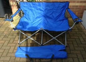 Quick folding double chair with storage bag