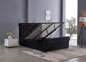 BIG SALE OF THE MONTH - BRAND NEW PLUSH VELVET DOUBLE OR KING GAS LIFT OTTOMAN STORAGE SLEIGH BED