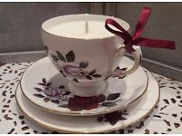 Handpoured vintage teacup candles