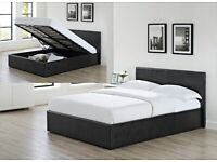 CASH ON DELIVERY - DOUBLE GAS LIFT UP DOUBLE OTTOMAN STORAGE BED FRAME ( BLACK,BROWN & WHITE )